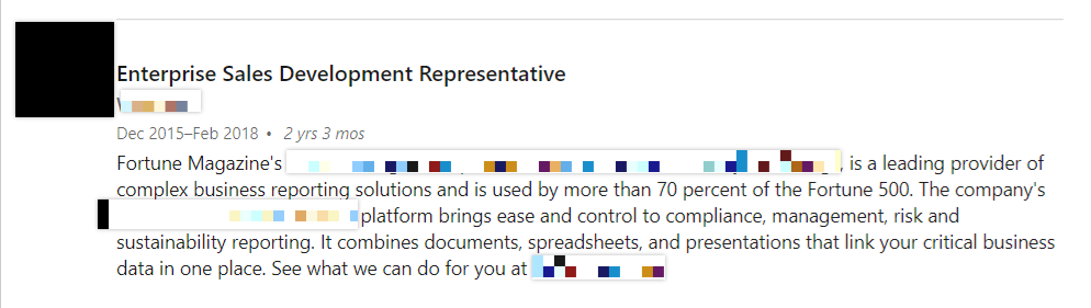 Enterprise Sales Development Representative job description screenshot