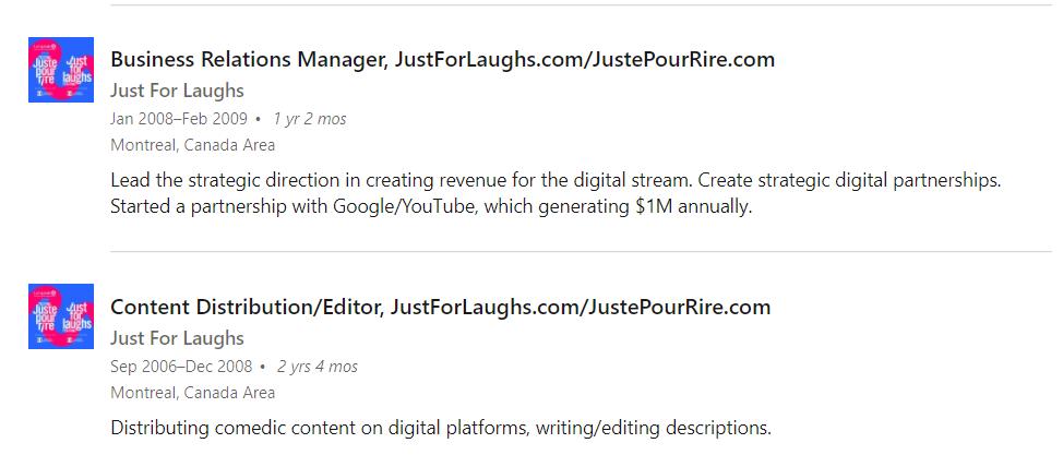 LinkedIn Career description for Just For Laughs