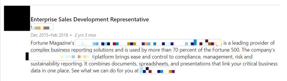 Enterprise Sales Development Representative job description screenshot
